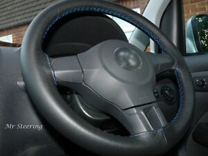 FITS 2009-2015 DODGE RAM 4 BLACK LEATHER STEERING WHEEL COVER SKY BLUE STITCHING