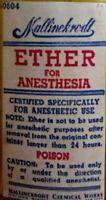 Vintage Medicine Hand Crafted Bottle, Ether for Anesthesia, Mallinckrodt,