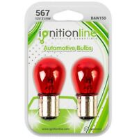 2 X 567 Red 12V 21/5W Brake & Stop Tail Lights Off Set Pins Car Bulbs BAW15D