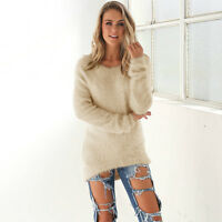 Womens Ladies Long Sleeve Knitted Pullover Jumper Tops Casual Sweater Mini Dress