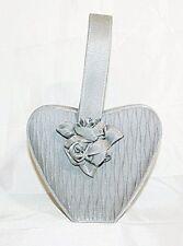 Sasha New York Evening Bag Satin Heart Silver Gray Floral Purse Handbag Vintage