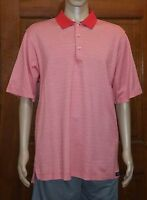 Peter Millar Mens Red White Polo Rugby Golf Shirt Size L Large (A6)