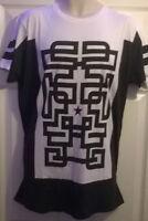 Mens Alcott white black 100% cotton college USA American t shirt S/M/L/XL/XXL