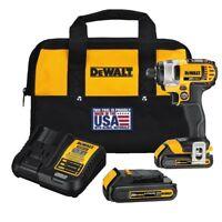 "DEWALT DCF885C2R 20 Volt MAX 20V Li-Ion 1/4"" Cordless Impact Driver Kit With Bag"
