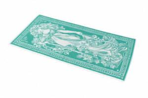 Art Nouveau Maiden Lady Bath Towel, Jacquard Cotton Bathroom Decor, Green Small