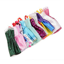 10Pcs/Lot Mixed Color Toy Clothes Tutu Princess Dresses for Barbie Doll U77