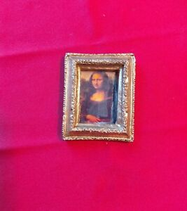 Dollhouse Miniature Handcrafted Gilded Framed Painting 1:12 Scale Mona Lisa