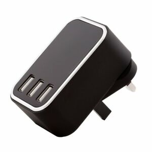 4.5 AMP Fast 3 Port USB UK Mains Wall Plug Charger Adapter 3 Pin For Mobiles