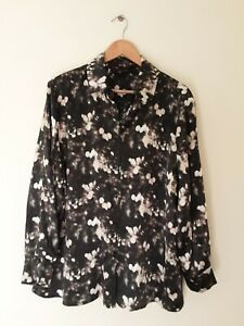 MAGGIE T size 18 top blouse 100% Silk button through black print long sleeve