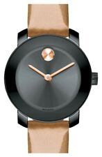 MOVADO Womens 'Bold' Round Gunmetal Patent Peach Leather Strap 25mm Watch 140856