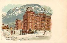 SWITZERLAND GRINDELWALD WINTERSPORT HOTEL BAER HORSES UNDIVIDED LITHO POSTCARD