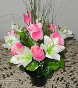Artificial /Silk Flower Arrangement Grave / Memorial Pink Rose and Lilly