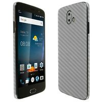 Skinomi Silver Carbon Fiber Skin+Clear Screen Protector for ZTE Blade V8 Pro