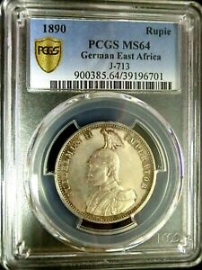 PCGS MS64 Gold Shield-German East Africa 1890 Wihelm II Silver 1 Rupie Choice BU