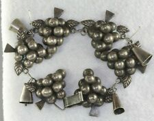 VINTAGE WIDE MEXICAN MEXICO 980 SILVER GRAPES BELL CHARM BRACELET