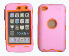 Built in Screen Protector Case / Cover iPOD TOUCH 4 PINK / ORANGE Free Stylus!!!