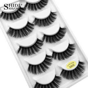 Pack of 5 3D Mink False Eyelashes Wispy Cross Long Thick Soft Fake Eye Lashes an