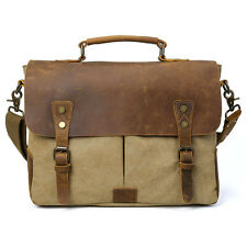 "Men's Leather Canvas Shoulder Bag Messenger Briefcase 14"" Laptop Case Satchel"