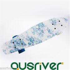 "22"" Street Retro Cruiser Skateboard Mini Board Teenager Gift Outdoor Blue Flower"