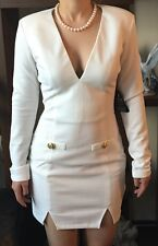 New Womens Military Plunge Mini White Dress By Rare London Size 12 RRP £48.00