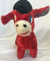 """Vintage 1960s 15"""" Red Tijuana Donkey Plush Collectible Rare Toy Plaid Ears Band"""