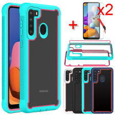 For Samsung Galaxy A21 Case Shockproof Bumper Phone Cover Glass Screen Protector
