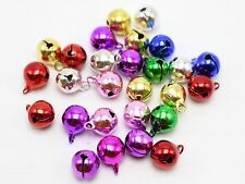100 JINGLE BELLS Christmas Mixed Colors 8mm Beads Charm