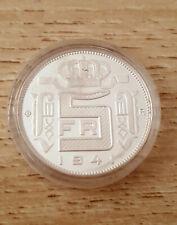 Belgium 5 francs 1941 Fl  QP en argent refrappe médaille
