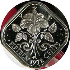 elf Bahamas 15 Cents 1972 Proof  Hibiscus  Flower