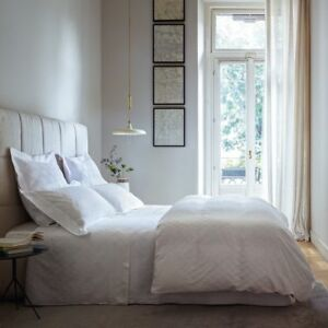 NEW Frette Hotel RIVIERA 3 PC Full Queen Coverlet Euro Shams Ivory