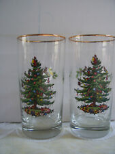 Set Of 2 Christmas Tree Holly Noel Drinking Glasses Tumblers Glass Holiday 16 oz