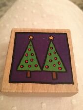 Christmas Tree Retro Wood Back Rubber Stamp