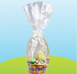Easter Hamper Wrap cellophane Basket Wrap Large Cello Bag Ribbon Create Egg Hunt