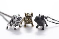 Halskette Französische Bulldogge Hund Anhänger bronze, silber o. schwarz Frenchi