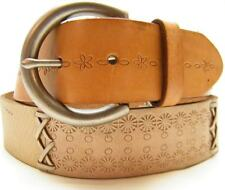 WOMEN FOSSIL BRN TAN FLORAL LACED LINK LEATHER HIPSTER WESTERN BELT SIZE MEDIUM