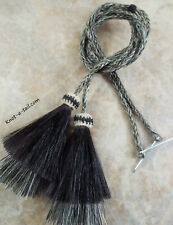 horsehair, stampede string, chin strap, cotter-pin, Gray/black tassel hat string