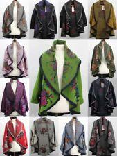 New Ladies Plus Size Boiled Wool Mix Flower Waterfall Waist Jacket Coat 10-16