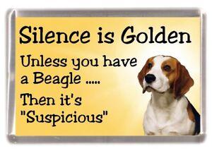 "Beagle Dog Fridge Magnet ""Silence is Golden ....."" by Starprint"