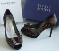 BROMLEY WEITZMAN Black Lace Open Toe Bow Pump Heels Court Shoes Size EU 39 UK 6