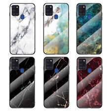 For Samsung Galaxy A21S A41 Luxury Marble Tempered Glass Hybrid Back Case Cover