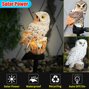 US!Solar Power Waterproof Garden Lawn LED Lamp Light Owl Landscape Outdoor Decor