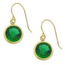 14Kt Yellow Gold 6mm Emerald Round Bezel Dangle Earrings
