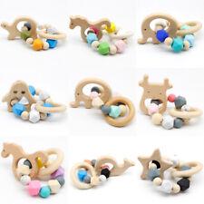Hexagon Silicone Beads Teether Beech Animal Rattles Toys Baby Teething Bracelet