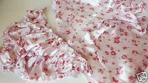 2 Piece  Pink Floral Satin Flirty Babydoll & Frilly Knickers UK 12  Short Nighty