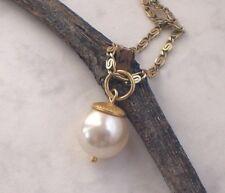 Anhänger PERLE weiß 925 Silber vergoldet, Muschelkernperle Perlenanhänger f141