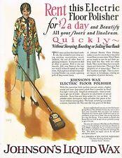 1920s BIG Old Vintage Johnson's Wax Floor Polisher Andrew Loomis Art Print Ad b