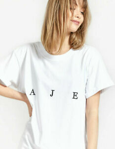 NWT Aje Womens Bianca Relaxed Fit Tee Shirt Crew Neck Roll Sleeve T-shirt Top XS
