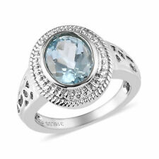 Natural Blue Topaz Ring in Stainless Steel (Size 6.0) 2.15 ctw