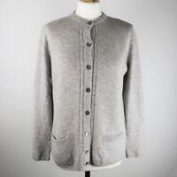 Womens M&S 100% Pure Merino wool Cardigan Size UK 14 Crew neck Grey Jumper Knit