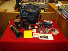 Vintage Minolta SR-T 202 w/ Lenses, Leather Bag and all Kinds of Extras